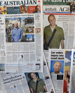 Australian newspapers lead their front pages in Australia with the story of Ben Zygier as Israel confirms it jailed a foreigner in solitary confinement on security grounds who later committed suicide. (William West, AFP)