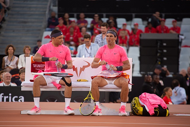 Trevor Noah and Rafael Nadal at The Match in Africa. (Photo by Gallo Images/Misha Jordaan)