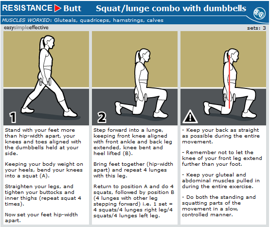 Squat lunge combo with dumbbells