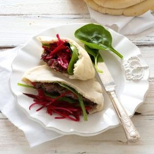 recipe, ostrich, pita, beetroot, pickle,dinner,lun