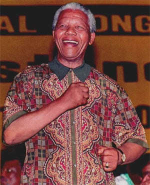 Nelson Mandela in a trademark bright shirt. (File, AFP)