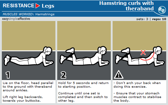 hamstring curls with theraband