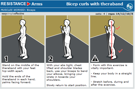 bicep curl with theraband