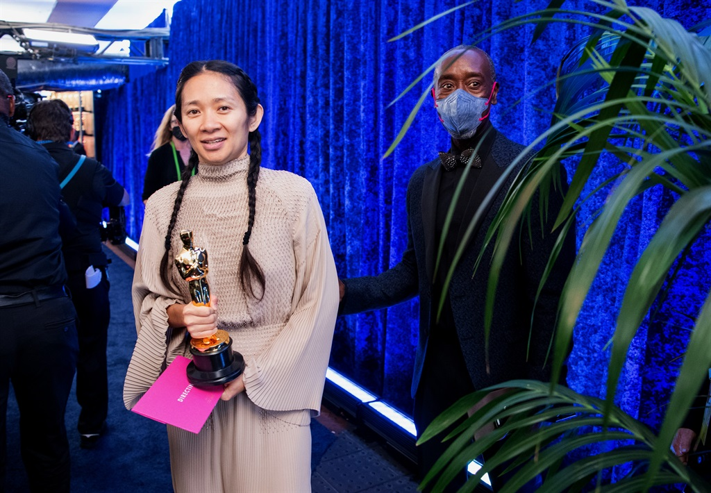 Chloé Zhao poses backstage the 93rd Annual Academy Awards at Union Station on April 25, 2021 in Los Angeles, California. (Photo by Richard Harbaugh/A.M.P.A.S. via Getty Images)