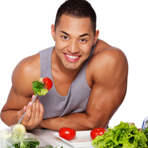Man eating vegetables