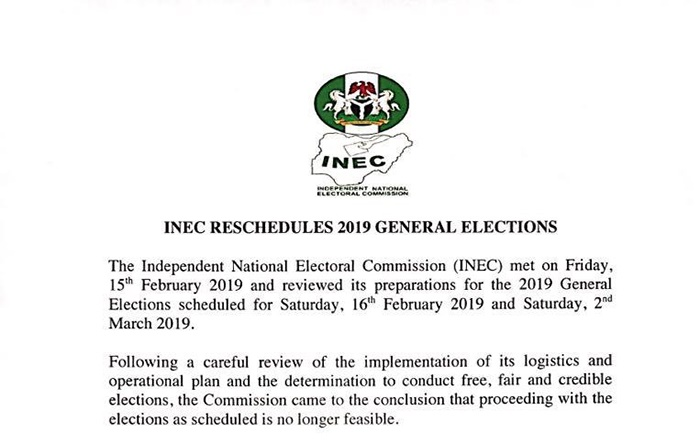 INEC announces postponement of general elections