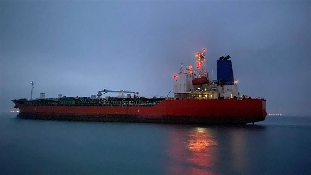 This handout photo taken on 9 April, 2021 and provided by South Korean Foreign Ministry shows the South Korean-flagged tanker 'Hankuk Chemi' departing the Iranian port of Rajai near Bandar Abbas. Iran on April 9 released a South Korean-flagged tanker it seized amid a dispute over billions in frozen oil funds, and the vessel's captain, the foreign ministry in Seoul said.
