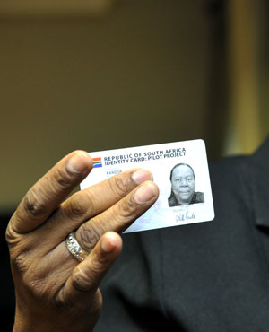 Home Affairs Minister Naledi Pandor with her smart ID card. (Picture: Sapa)
