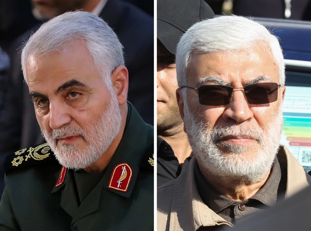 Qasem Soleimani (L), an Iranian Major General in the Islamic Revolutionary Guard Corps and Abu Mahdi al-Muhandis (R), a commander in the Popular Mobilization Forces.