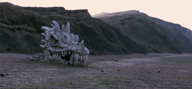Dragon skull promoting Game of Thrones