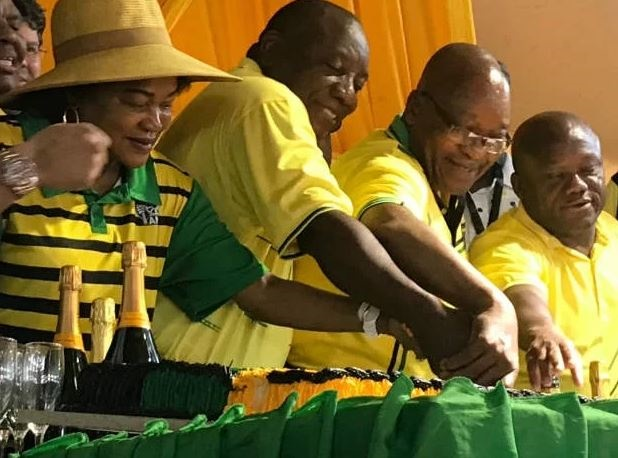 President Cyril Ramaphosa and other senior ANC members during the party's 107th anniversary celebrations. (Tshidi Madia/News24)