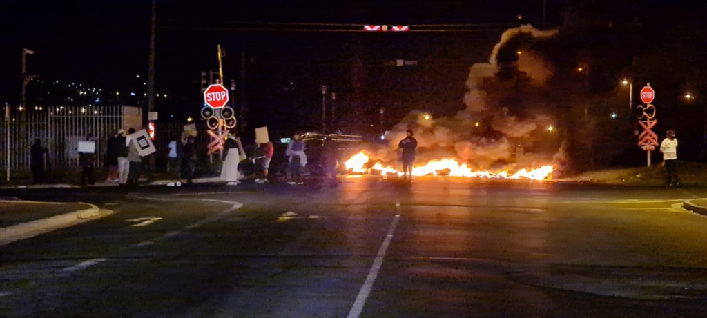 Scenes of protest in Cape Town on Monday.