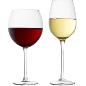 Wine glasses with red, white wine