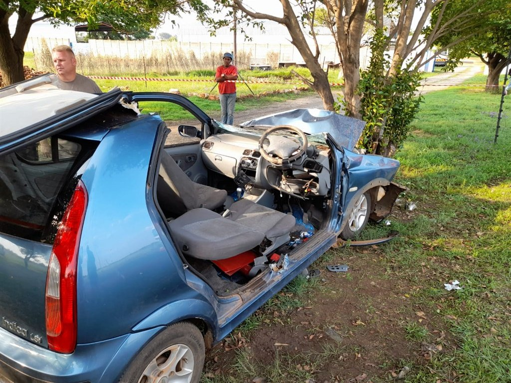 The wreck of a car that crashed into a tree in Meyerton.
