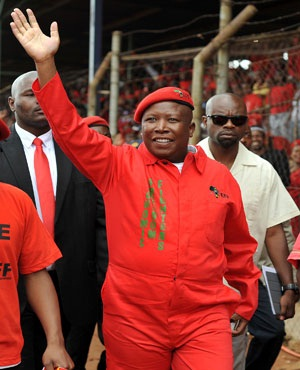 EFF leader Julius Malema arrives at a packed Mehlareng Stadium in Tembisa during the launch of the party's manifesto. (Ihsaan Haffejee, Sapa)