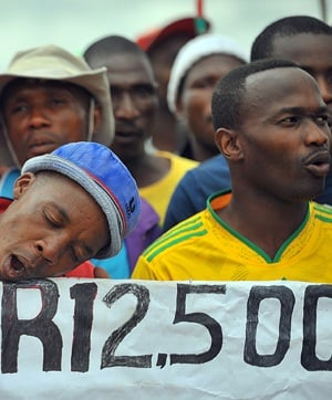 Striking Lonmin mineworkers in Marikana near Rustenburg earlier this year. (File, AFP)