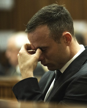 Oscar Pistorius is seen during his murder trial at the North Gauteng High Court in Pretoria. (Gianluigi Guercia/AFP/Pool)