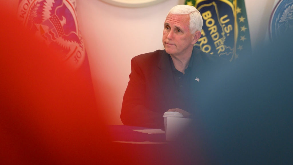 Vice President Mike Pence and members of the Senate Judiciary Committee participate in a roundtable discussion at the United State Customs and Border Protection station in McAllen, Texas. (Photo by Carolyn Van Houten/The Washington Post via Getty Images)