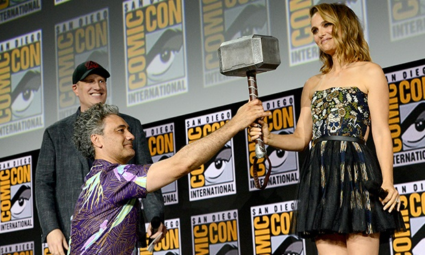 Kevin Feige, Taika Waititi and Natalie Portman speak at the Marvel Studios Panel during 2019 Comic-Con International.