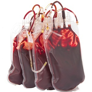 Bags of blood for donation