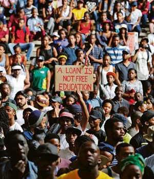 Tshwane University of Technology students protest against the proposed 6% fees hike. Picture: TEBOGO LETSIE