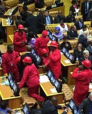 The EFF in Parliament. (<a href= 'https://twitter.com/RanjeniM'>Ranjeni Munusamy</a> via Twitter)