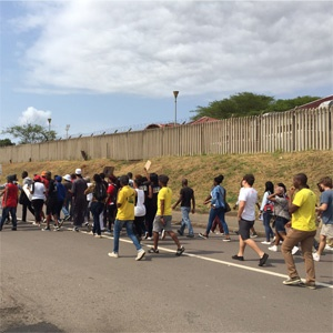 Students protest in Durban. (Jeff Wicks, News24)