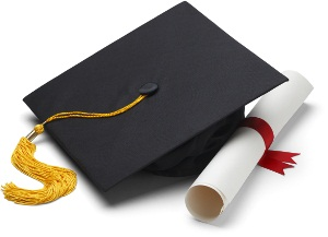 Black Graduation Cap with Degree Isolated on White Background from Shutterstock