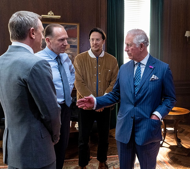 Prince Charles (R), Prince of Wales meets British
