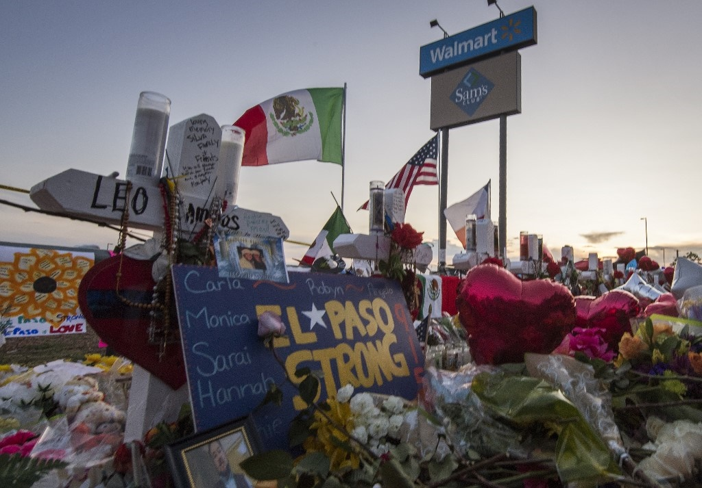 In this file photo taken on August 6, 2019, a makeshift memorial for victims of the shooting that left a total of 22 people dead decorates the Cielo Vista Mall Walmart in El Paso, Texas.