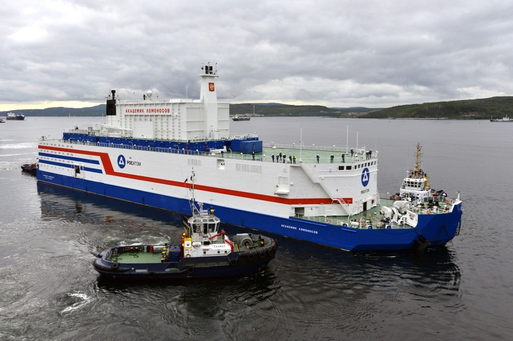 The floating power unit (FPU) Akademik Lomonosov being towed from the Arctic port of Murmansk, northwestern Russia.