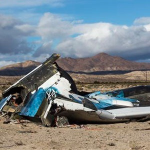 Wreckage lies near the site where a Virgin Galactic space tourism rocket, SpaceShipTwo, exploded and crashed in Mojave. (Ringo HW Chiu, AP)