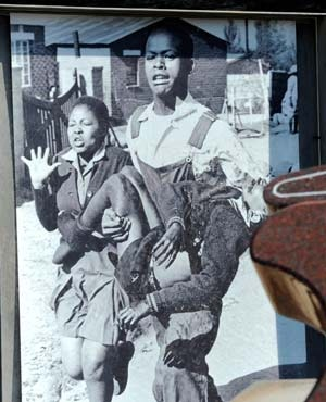 Famous image of Hector Pieterson, who was killed in the 1976 Soweto uprising.
