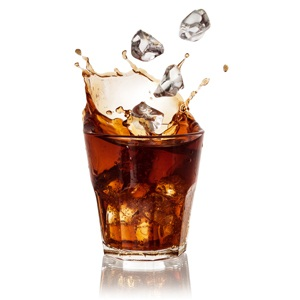 Cola glass with falling ice cubes from Shutterstock