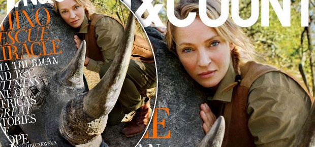 Uma Thurman on the cover of Town & Country magazine. (Town & Country/Alexei Hay)