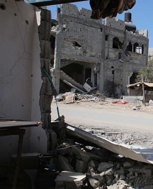 A destroyed house on the southern Gaza Strip. (Said Khatib, AFP)