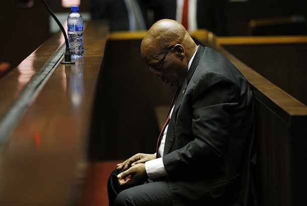 Former South African president Jacob Zuma in court. (Photo by ROGAN WARD / POOL / AFP)