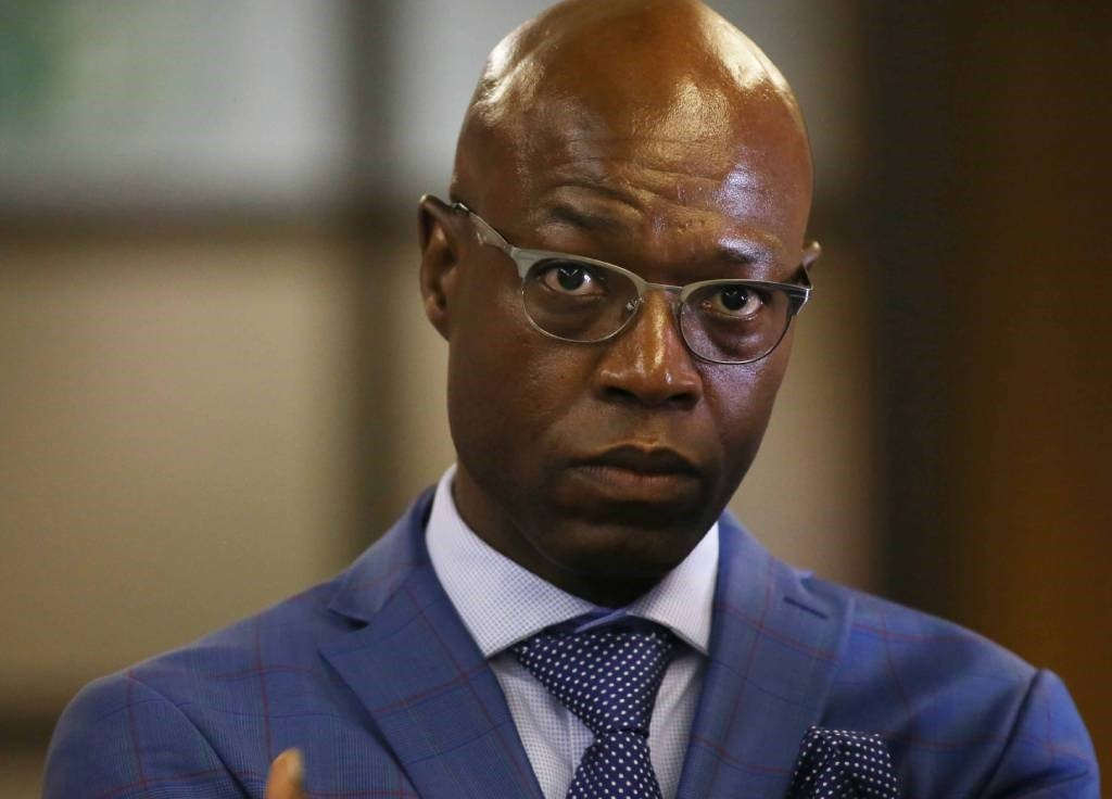 Former Eskom executive Matshela Koko is seen at the parliamentary inquiry into alleged corruption at the power utility