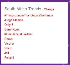 Seven of the top 10 trending topics on Twitter in South Africa are Pistorius-related.<br />