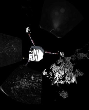 A 360º view of the surface of comet 67P/Churyumov-Gerasimenko around the point of final touchdown, during Philae's descent. Superimposed on top of the image is a sketch of the Philae lander. ( ESA,Rosetta,Philae,CIVA, AFP)