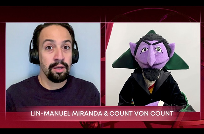 Lin-Manuel Miranda and Count Von Count during the