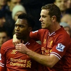 Jordan Henderson with Liverpool team-mate Daniel S