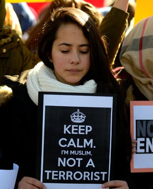 A clear message from a Muslim woman in Madrid. (Gerard Julien, AFP)