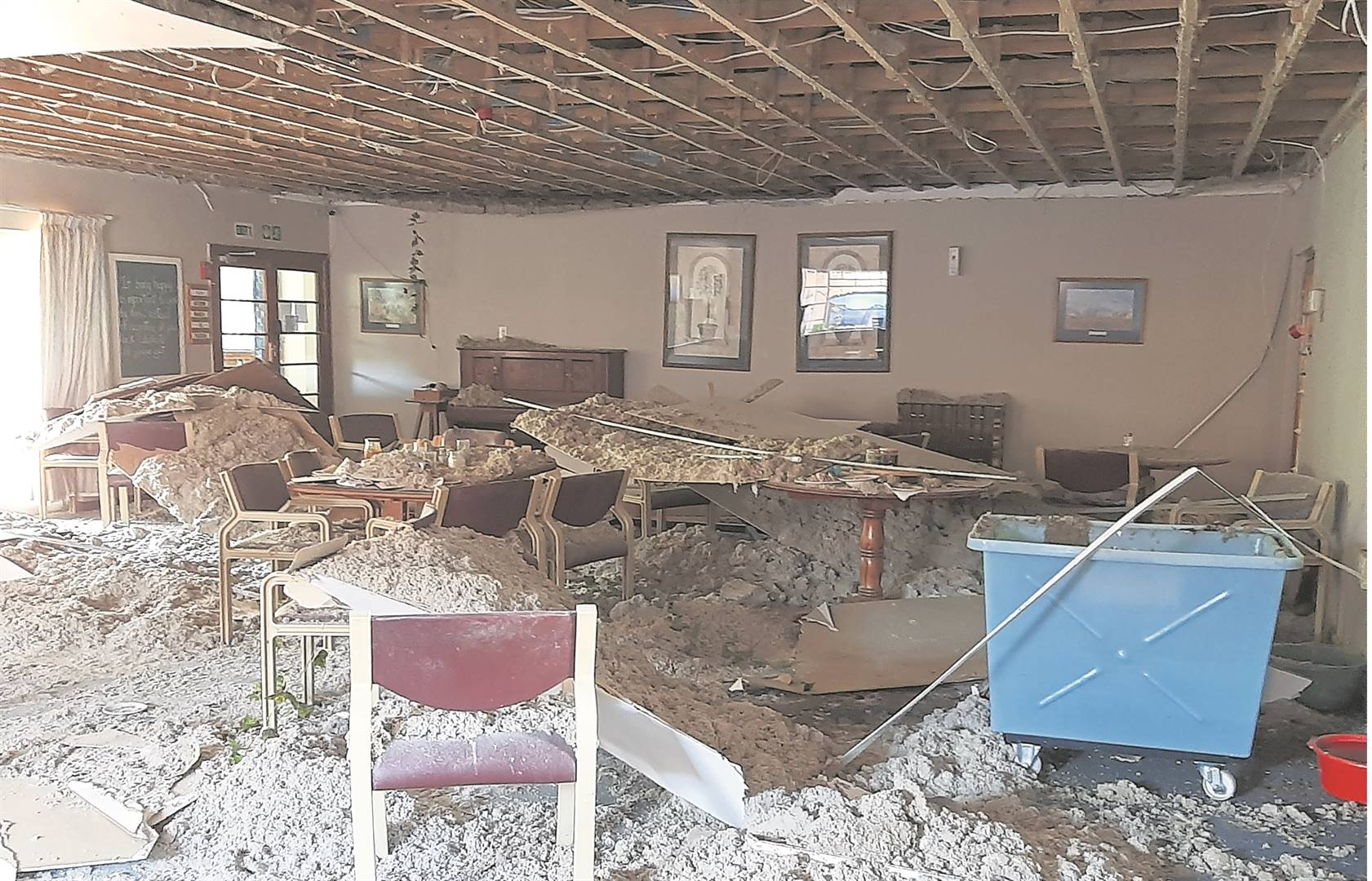 Ceiling boards in the dining room of the Amberfield Care Centre came crashing down on residents and staff during Tuesday's storm in Howick.