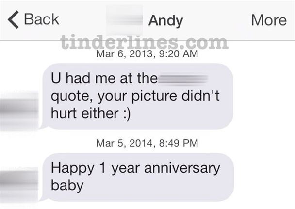 Andy waited a whole year to send a second text.