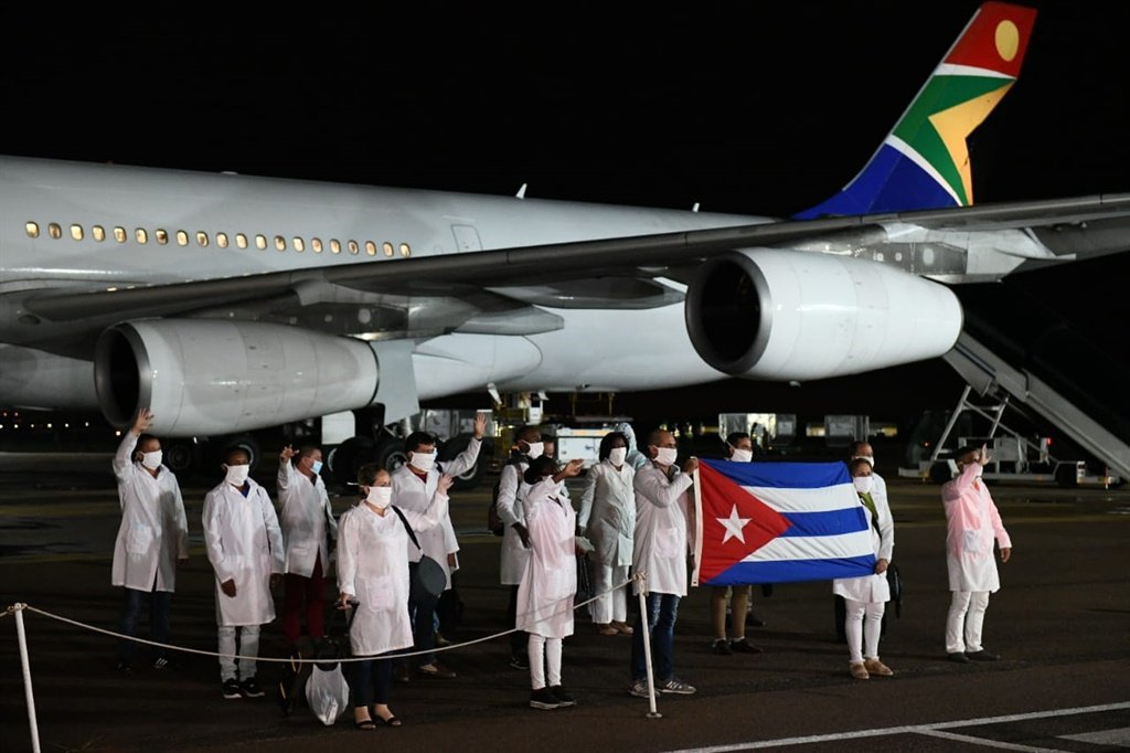 Members of the Cuban Medical Brigade arrive in SA to assist in flattening the curve of Covid-19 in the country.