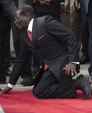 President Robert Mugabe just as he had fallen to the ground. (AP)
