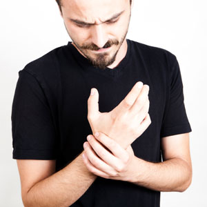 Man with wrist pain from arthritis