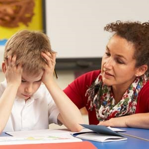 Boy with ADHD in classroom