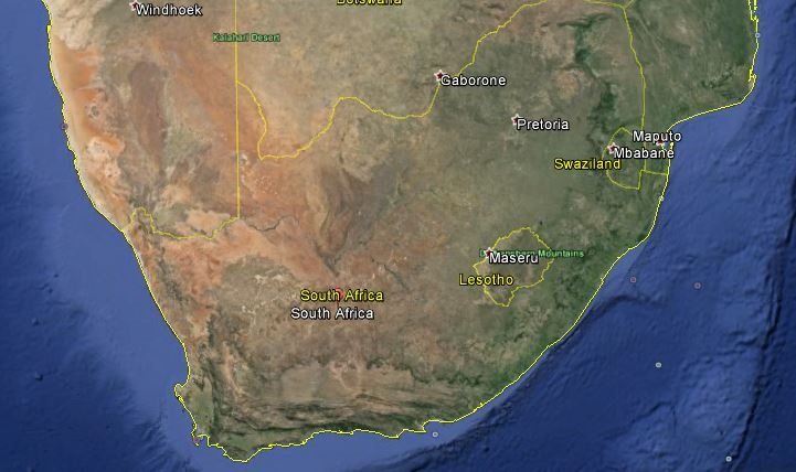 south africa map google earth